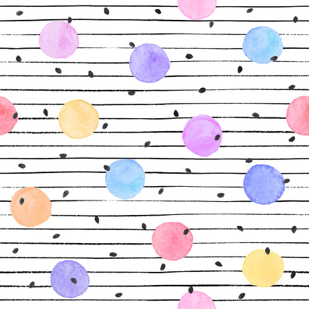 Watercolor texture in pastel colors. Hand drawn seamless abstract background for print on fabric or wrapping paper. Watercolor spots with black stars and dots isolated on white background. Illustration