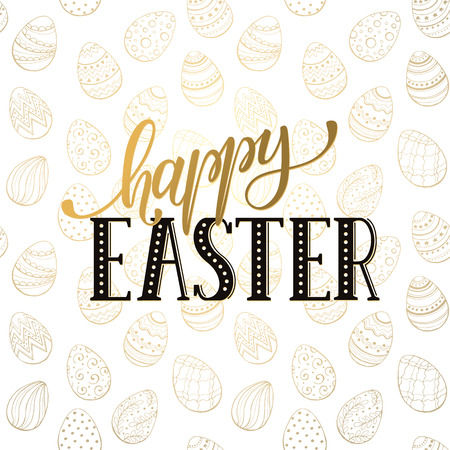 golden eggs: Happy Easter wording with golden eggs  on white background. Decorative Esater eggs seamless pattern with text. Easter greeting card template.