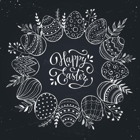lineas decorativas: corona de Pascua con huevos de pascua dibujado a mano en el pizarr�n. fotograma de bosquejo decorativo de los huevos de Pascua y elementos florales. Huevos de Pascua con adornos en forma de c�rculo.