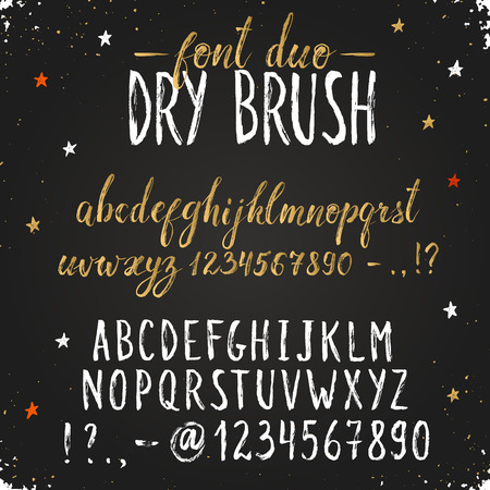 Handmade letters. Handwritten alphabet on blackboard. Hand drawn grunge calligraphy. Modern chalk typography. Dry brush font duo.