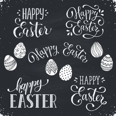 phrases: Hand written Easter phrases. Greeting card text templates with Easter eggs on chalk board. Happy easter lettering in modern calligraphy style.