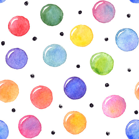 Watercolor texture. Aquarelle spots with ink dots hand drawn with dry brush. Seamless pattern. Watercolor pattern with colorful dots and black circles isolated on white background. Vettoriali