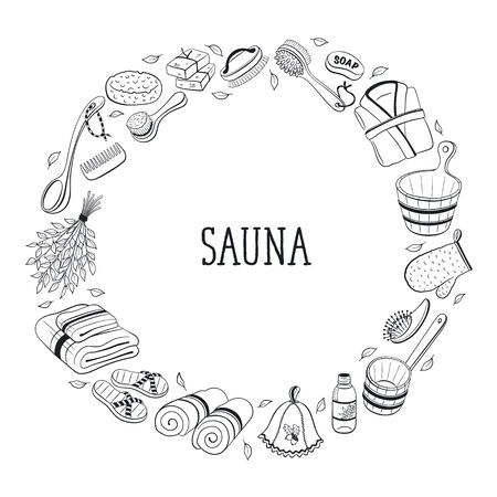 sauna: Sauna accessories sketches in  circle shape. Hand drawn spa items collection. Doodle sauna objects isolated on white background.