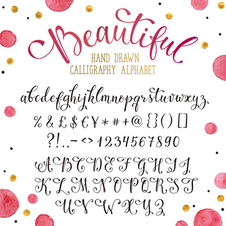 florish: Elegant calligraphy letters with florishes. Handwritten alphabet with watercolor spots on background. Uppercase, lowercase letters, numbers and symbols. Hand drawn modern script. Illustration