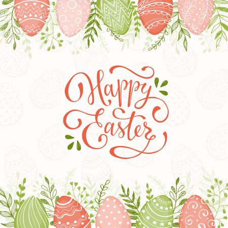 ester: Easter background with Happy easter text. Decorative Ester borders from Easter eggs and floral elements. Easter eggs with ornaments in peach and grass colors.