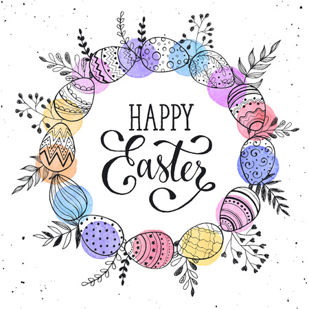 Easter wreath with easter eggs hand drawn black on white background. Decorative doodle frame from Easter eggs and floral elements. Easter eggs with ornaments in circle shape with watercolor dots. Vettoriali