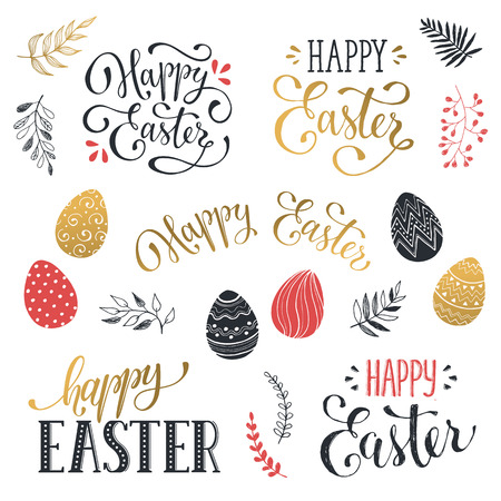 gold eggs: Hand written Easter phrases in red and gold. Greeting card text templates with Easter eggs isolated on white background. Happy easter lettering modern calligraphy style.