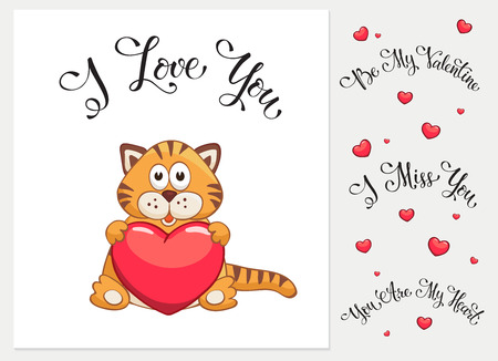 valentine cat: Cartoon cat with heart. I love you. I miss you.  Be my Valentine. You are my Heart. Funny greeting card.