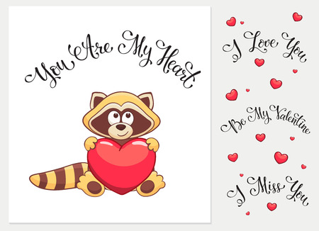i miss you: Cartoon racoon with heart. I love you. I miss you.  Be my Valentine. You are my Heart. Funny greeting card.