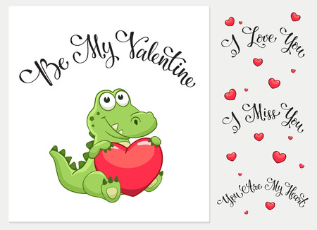 Cartoon crocodile with heart. I love you. I miss you.  Be my Valentine. You are my Heart. Funny greeting card.