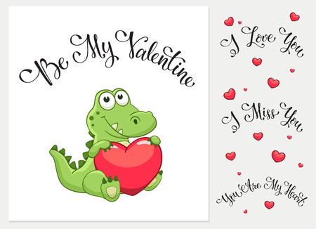 Cartoon crocodile with heart. I love you. I miss you.  Be my Valentine. You are my Heart. Funny greeting card. Zdjęcie Seryjne - 53435926