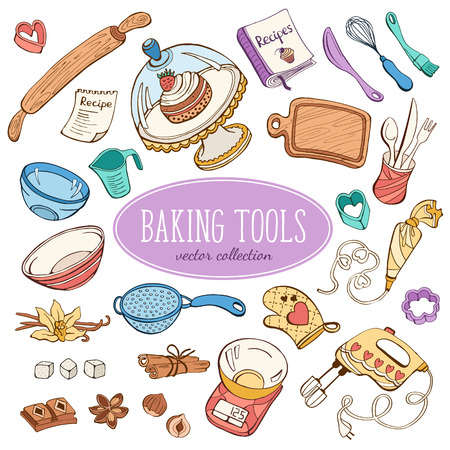 Baking items collection in doodle style. Hand drawn kitchen tools set in pastel colors.