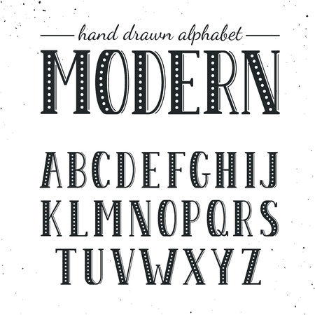 uppercase: Hand drawn alphabet. Uppercase letters and symbols isolated on white background. Handdrawn typography. Modern font.