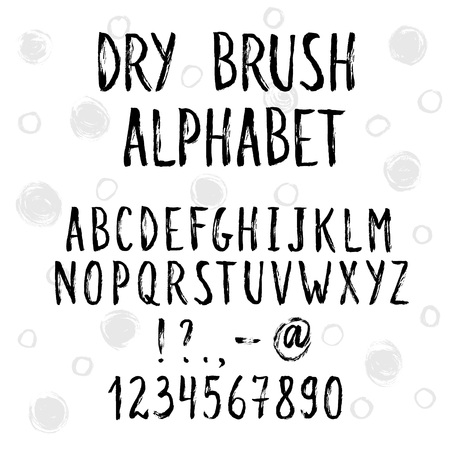 dry brush: Hand drawn narrow and tall letters.  Dry brush handwritten alphabet with sketch circles on background. Modern ink typography.