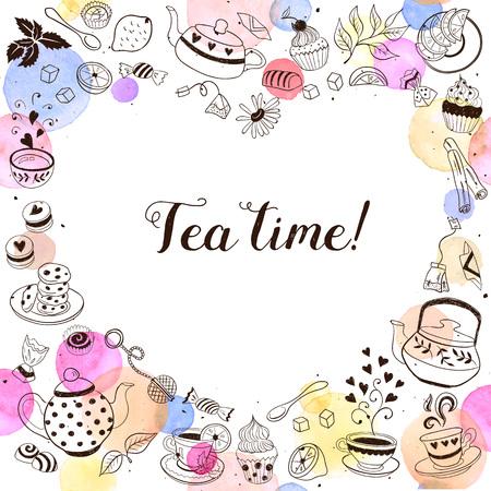 お茶時間招待コンセプト。ティー パーティーのカード デザイン。ティーポット、カップ、お菓子、手描き落書きフレーム。  イラスト・ベクター素材