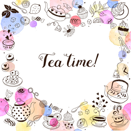 Tea time invitation concept. Tea party card design. Hand drawn doodle frame with teapots, cups and sweets. Vettoriali