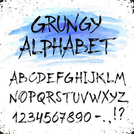 dry brush: Hand drawn grunge uppercase letters.  Dry brush handwritten alphabet blue watercolor spot on background. Modern ink typography. Illustration