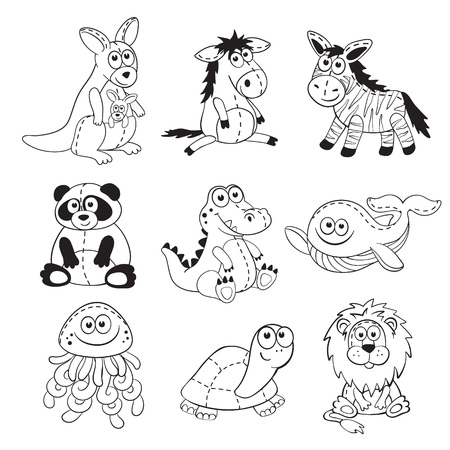 animals outline: Cute cartoon animals isolated on white background. Stuffed toys set. Cartoon animals outline collection. Illustration