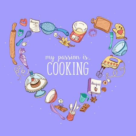 kitchen poster: My passion is cooking.  Baking tools in heart shape. Recipe book bacground concept. Poster with hand drawn kitchen utensils.