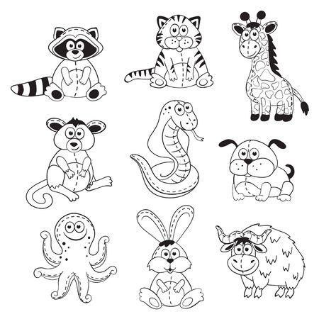stuffed: Cute cartoon animals isolated on white background. Stuffed toys set. Cartoon animals outline collection. Illustration
