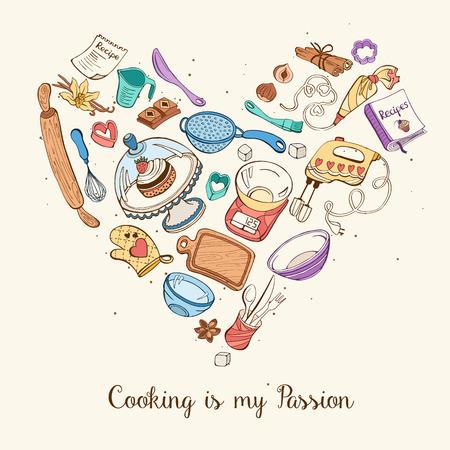 La cuisine est ma passion. outils de cuisson en forme de coeur. Livre de recettes fond concept. Affiche avec des ustensiles de cuisine dessinés à la main. Vecteurs