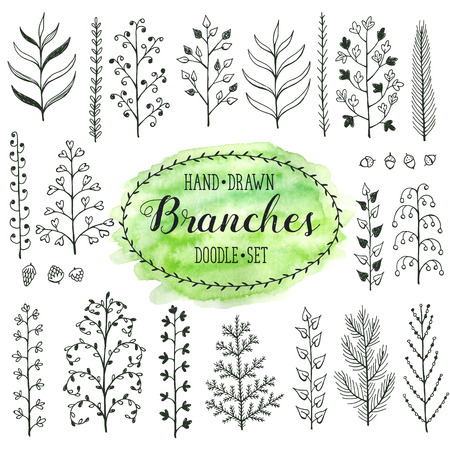 drawing trees: Hand drawn branches collection. Set of simple doodle branches isolated on white background. Vintage ink branches. Floral decorative elements for postcard and invitation design.