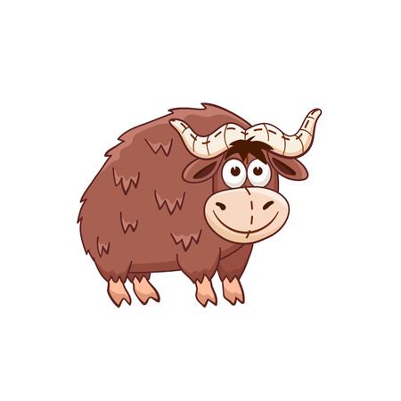 Cute cartoon animal. Stuffed  yak. Vector plush toy isolated on white background. Illustration