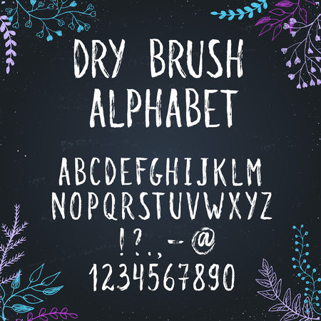 dry brush: Hand drawn narrow and tall letters. Dry brush handwritten alphabet with floral elements on background.  Modern chalk typography.