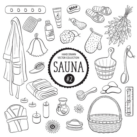 Sauna accessories sketch. Hand drawn spa items collection. Doodle sauna objects isolated on white background.