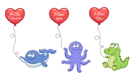 i miss you: Cartoon animals with balloons in heart shape. Valentines day greeting card. I love you. I miss you. Be my Valentine. You are my Heart. Illustration