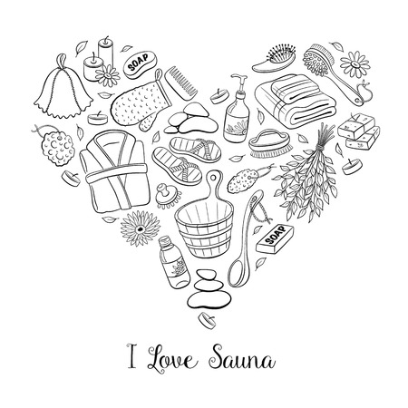 sauna: I love sauna. Sauna accessories sketches in heart shape. Hand drawn spa items collection. Doodle sauna objects isolated on white background. Illustration