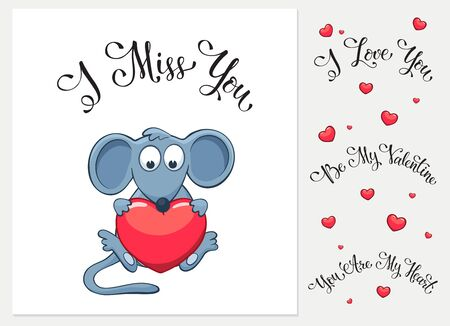 i miss you: Cartoon mouse with heart. I love you. I miss you.  Be my Valentine. You are my Heart. Funny greeting card. Illustration