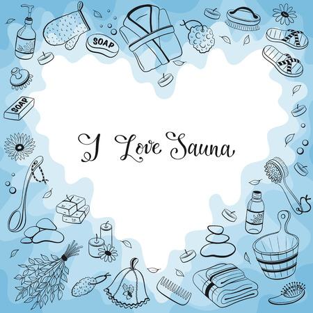 Me encanta la sauna. accesorios para saunas bosquejos en forma de corazón. Dibujado a mano colección de artículos de spa. Marco de los objetos sauna del doodle.