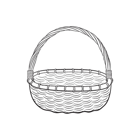 osier: Hand drawn picnic basket isolated on white background. Sketch illustration of empty bamboo basket.