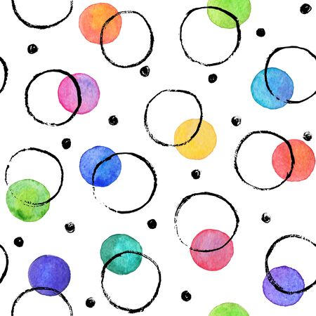 dry brush: Watercolor texture. Aquarelle spots with ink circles hand drawn with dry brush. Seamless pattern. Watercolor pattern with colorful dots and black circles isolated on white background. Illustration