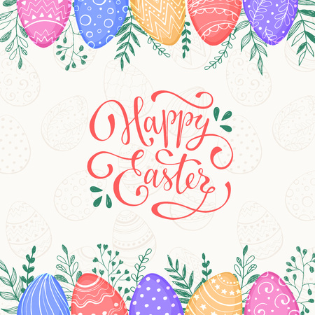 ester: Easter background with Happy easter text. Decorative Ester borders from Easter eggs and floral elements. Easter eggs with ornaments in sweet colors.