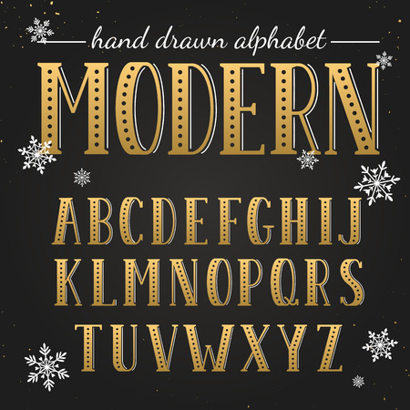 uppercase: Hand drawn golden alphabet. Uppercase letters and symbols on chalkboard. Handdrawn typography. Modern font.