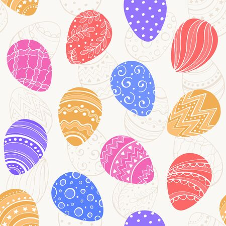 ester: Easter background with colorful Ester eggs. Decorative Esater eggs seamless pattern in sweet colors. Easter eggs with ornaments.
