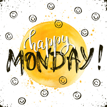 inspirational: Happy monday text hand drawn with dry brush. Bright and modern ink lettering for posters and greeting cards design. Inspirational phrase with smileys on white background.