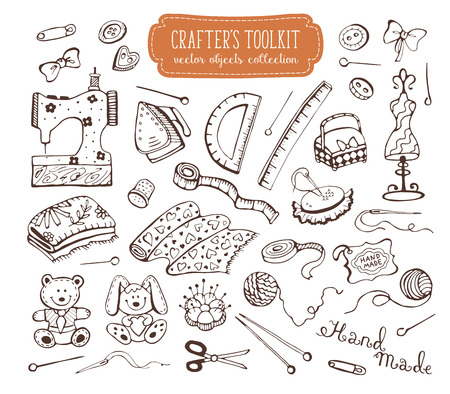 toolkit: Hand made tools doodle set. Crafting items collection isolated on white background.  Hobby equipments outlines. Crafters toolkit.