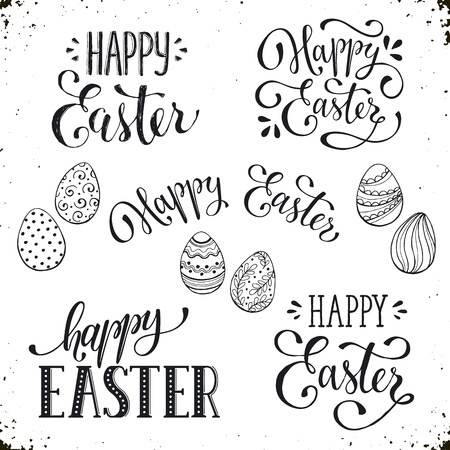 phrases: Hand written Easter phrases .Greeting card text templates with Easter eggs isolated on white background. Happy easter lettering modern calligraphy style. Illustration