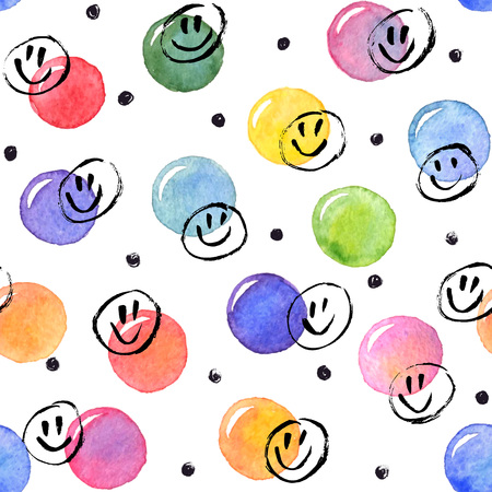 smileys: Watercolor texture. Aquarelle spots with ink smileys hand drawn with dry brush. Seamless pattern. Watercolor pattern with colorful dots and black circles isolated on white background.