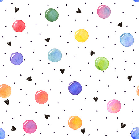 femine: Watercolor texture in bright colors. Hand drawn seamless abstract background for print on fabric or wrapping paper. Watercolor spots with black hearts and dots isolated on white background. Illustration