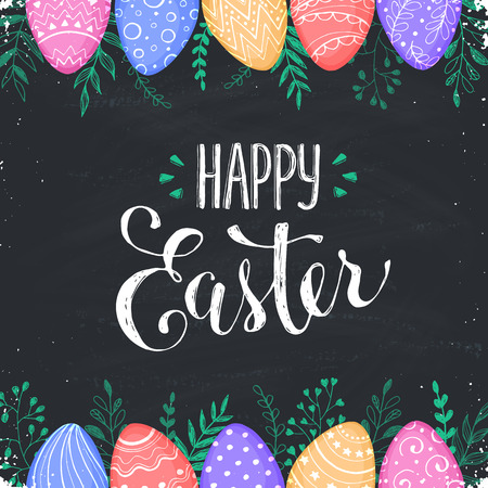 Easter chalk board background with Happy easter text. Decorative Ester borders from Easter eggs and floral elements. Easter eggs with ornaments drawn on blackboard.