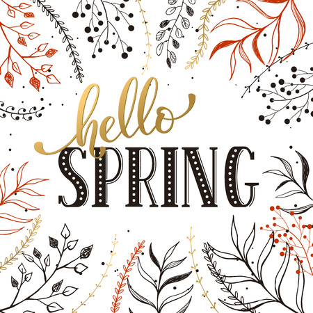 florish: Hello spring lettering black on white with golden branches on background. Romantic text. Modern calligraphy for greeting card design.