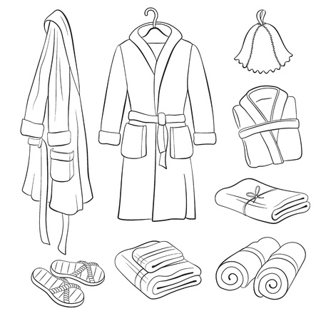 Sauna accessories sketch. Hand drawn spa bathrobes and towels collection. Bathroom objects isolated on white background. Bath clothes outlines. Vettoriali