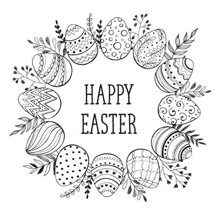 Couronne de Pâques avec des oeufs de Pâques tiré par la main noire sur fond blanc. Décoratif cadre doodle à partir d'oeufs de Pâques et éléments floraux. oeufs de Pâques avec des ornements en forme de cercle. Banque d'images - 53437561
