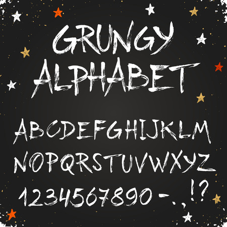 dry brush: Hand drawn dry brush alphabet. Uppercase grunge letters and numbers on chalkboard. Handdrawn typography. Modern font. Illustration