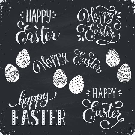 Escrito a mano frases de Pascua. plantillas de texto tarjeta de felicitación con los huevos de Pascua en la pizarra. letras de Pascua feliz en estilo de la caligrafía moderna.