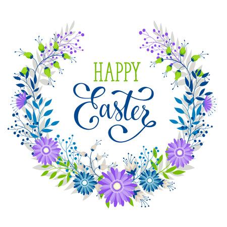 De kroon van Pasen met paaseieren overhandigt getrokken zwarte op witte achtergrond. Decoratief krabbelkader van paaseieren en bloemenelementen. Paaseieren met ornamenten in cirkelvorm. Pasen-groetkaart. Stockfoto - 53437629